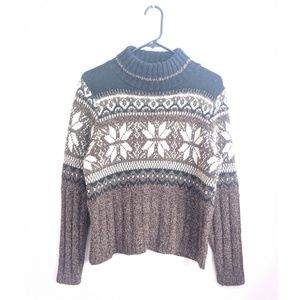 Vtg 90s Brown/Black Fair Isle Turtleneck Sweater